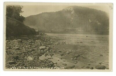 RPPC Factory Railroad River at PITTSTON PA Luzerne County Real Photo Postcard