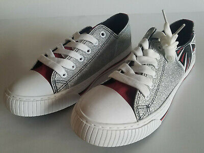 NFL Womens Ladies Glitter Low Top Canvas Sneaker Shoes, size: 9