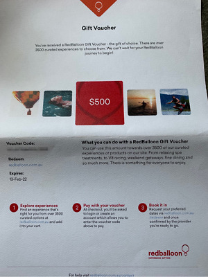 Red Balloon $500 Gift Experience Voucher for $400- Expires 13 Feb 2022