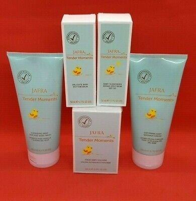 Jafra Tender Moments 5 PIECE SET Cologne+Body Wash+Cream+Bottom Balm+Sunscreen