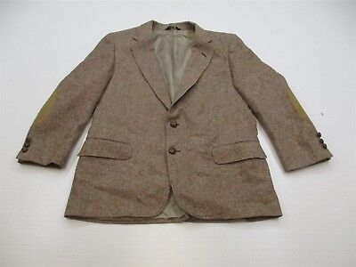 DAKS Wool Suit Elbow Patch Brown Speckle Two Button W17 CH22