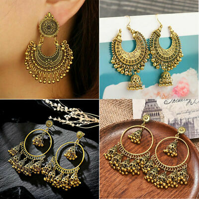 Indian Jhumka Gypsy Jewelry Gold Boho Vintage Ethnic Womens Drop Bohemia Earring