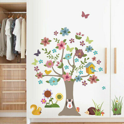Forest Colorful Tree wall stickers Animals Birds Wall Decal 30x90cm Cafe Decor