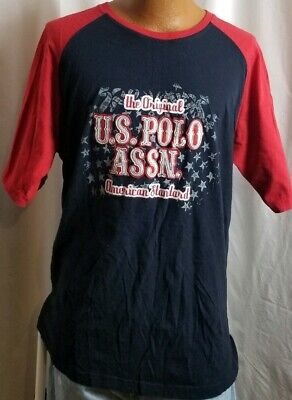 US Polo Assn Mens Graphic Logo TShirt Blue Red Size 2XL