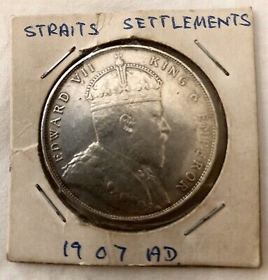 Straits Settlements One Dollar Silver Coin 1907. Very Good Condition.