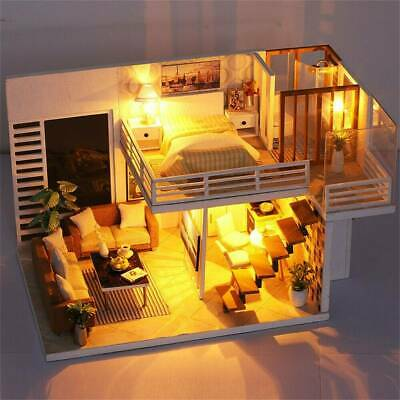 3D Wooden LED Dollhouse Miniature Furniture Doll House Kit Toys DIY Children