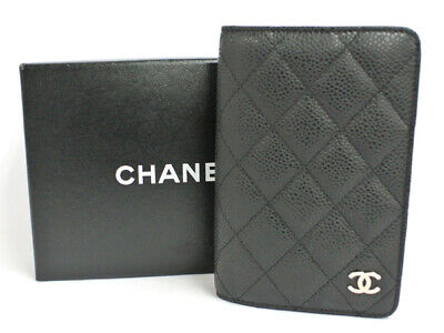 CHANEL Matelasse CC Logo Note Agenda Day Planner Cover Black Caviarskin W/Box