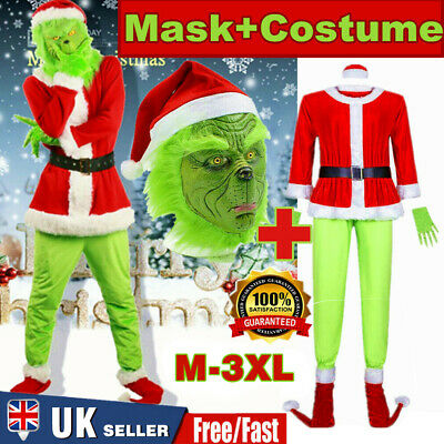 The Grinch Costume Christmas Cosplay Adult Santa Fancy Dress Outfit Set + Mask