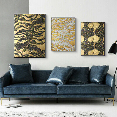 Luxury Gold Black Relief Canvas Home Living Room Decor Art Wall Hangings Poster