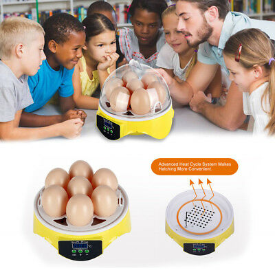 Automatic Mini Incubator 7 Egg Poultry Hatcher Digital Bird Temperature Control