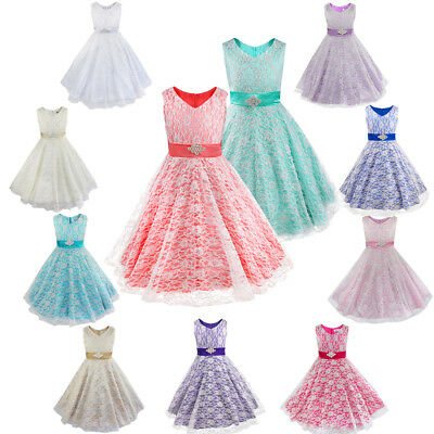 Children Girls Floral Lace Pageant Party Communion Ball Gowns Flower Girl Dress