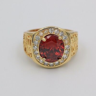 18K Yellow Gold Finish Real 925 Silver Red Ruby Cubic Zirconia Mens Ring Size 10