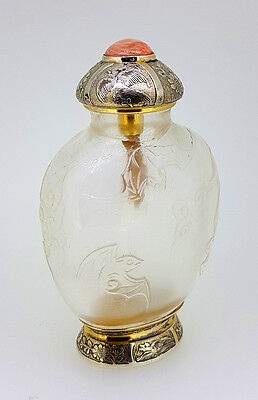 18th C. Qing Chinese Carved Rock Crystal Snuff Bottle 5 Bats Imperial Palace RRR