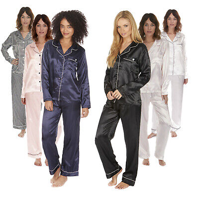Women's Ladies Luxury Plain Satin Pyjama PJ Set Buttoned Top Bottoms Nightwear