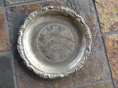 "Antique Vintage Silverplate Silver Plated 4"" Small Plate EP on Steel Italy"
