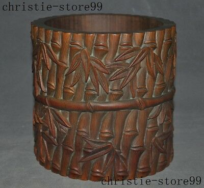 Old Chinese Natural Bamboo root Wood carved Bamboo Statue Brush Pot Pencil Vase