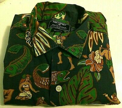 VTG RALPH LAUREN POLO SPORT Hawaiian Camp Floral Shirt Hula Girls Cotton Sz L