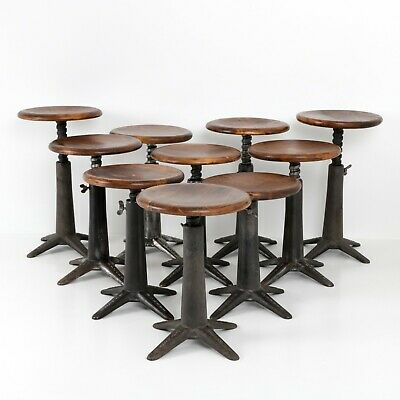 Set Of Industrial Singer Cast Iron Factory Stools