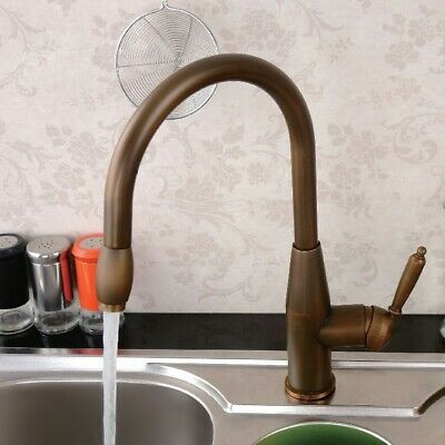 Classic Single Handle Pull Out One Hole Kitchen Faucet Solid Brass Antique Brass