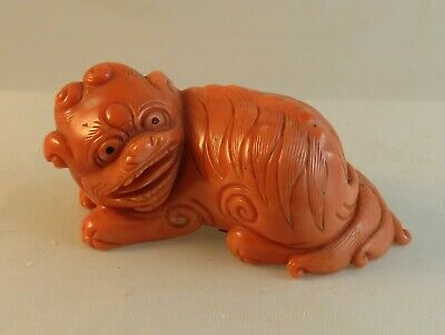 Vintage Miniature Chinese Carved Coral Foo Dog Lion Figurine