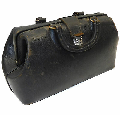 vtg Antique Schell Black Leather Cowhide Doctor's Bag Case Medical Tool Pouch NR