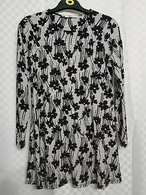 Ladies TU Longline Tunic Top Size 8 Black Floral Stretch Lagenlook Long Sleeve
