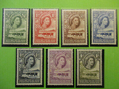 1955 Bechuanaland Protectorate Sg 143/9 Short Set of 7 Values Mounted Mint