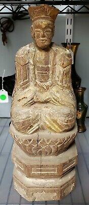Circa Late 18th Century Chinese Wooden Buddhist Temple Seated Emperor Figure