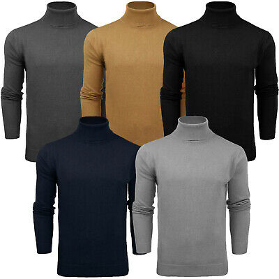Mens Polo Roll Turtle Neck Fitted Top Knit Pullover Funnel Jumper Plain Sweat...