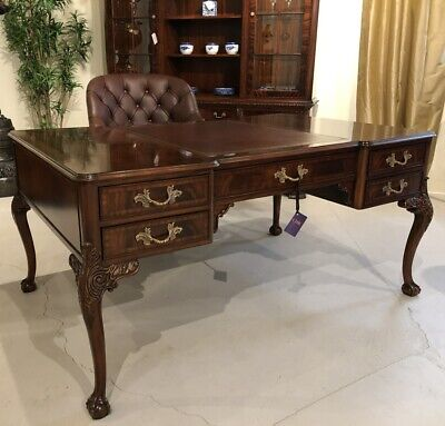 Mahogany Ball and Claw Executive Partners Desk with brown leather top