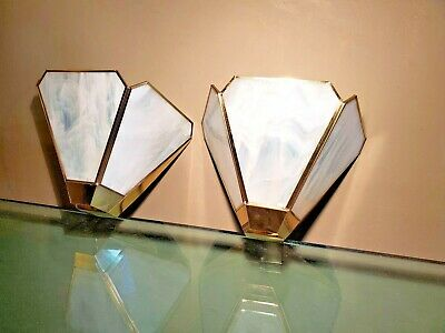 pr Wall Sconces OPAQUE white slag glass CLAMBROTH modern VTG Mid Century BRASS