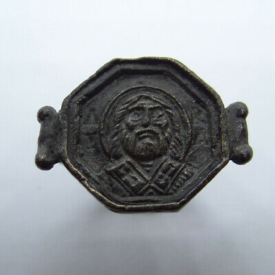 Medieval Ancient Artifact Bronze Ring With Saint