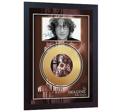 NEW! John Lennon Imagine Mini Gold Vinyl CD Record Signed Framed Photo Print