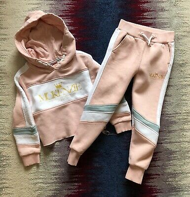 Mackenzie Girls Pink Tracksuit Set Cropped Hoodie + Joggers Vgc Age 6-7 Years
