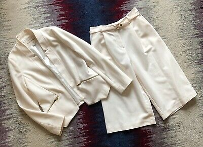 River Island Girls Age 9 Years Ivory Suit Set Blazer + 3/4 Wide Trousers Vgc