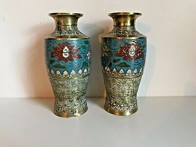 Pair Of Oriental Antique Chinese Brass Cloisonné  Enamel Vase
