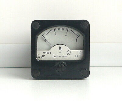 DC 0 - 3A Analog Dial panel Gauge Amper meter,  USSR, RARE! Lot of 1 pcs!