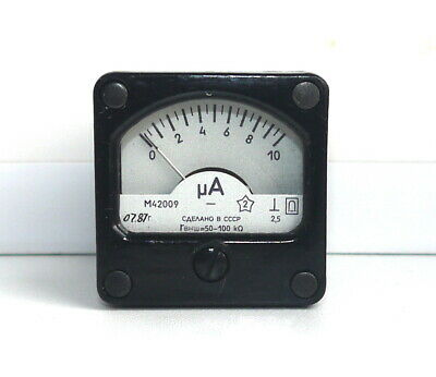DC ANALOG PANEL MICRO AMPER METER 0 - 10 uA  USSR RARE , lot of 1 pcs