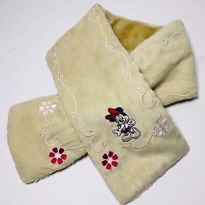 Disney Store Girls Minnie Mouse Plush Scarf Soft Warm Embroidered Beige Used.