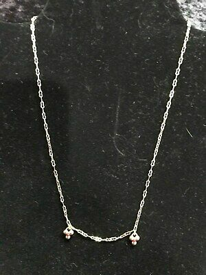 """14K Yellow Gold 16.5"""" Fancy Cut Rolo Cable Chain Necklace w/2 red stone grouping"""