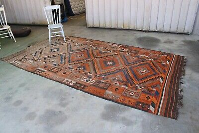 Vintage Massive Kilim Rug Indian Jute Wool Large Hand Knotted Moroccan 360 X 195