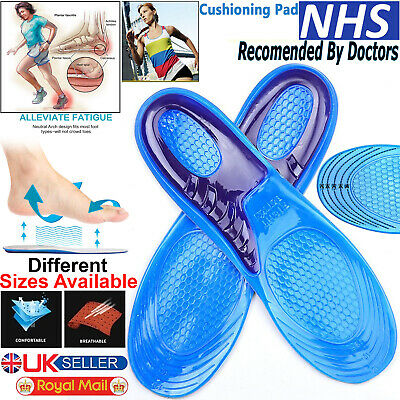 Shoe Insoles Arch Support Orthotic Silicone Gel Massaging Feet Heel Inserts Pads