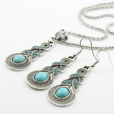 est Tibetan Silver Blue Turquoise Chain Pendant Necklace+Earrings,Jewelry F3H0