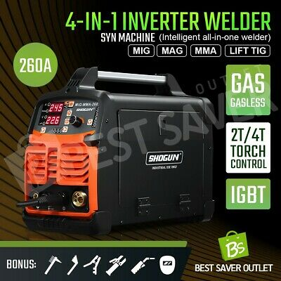 All IN One DC Inverter Welder MIG MAG TIG ARC MMA Gas Gasless 2T 4T Welding 260A