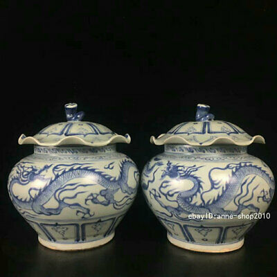 Antique Old Chinese Dynasty Blue and white Porcelain Pottery Pot Jar ALWJ