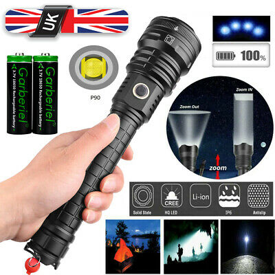 UK Ultra Bright xhp90 most powerful led flashlight Zoom torch rechargeable 18650
