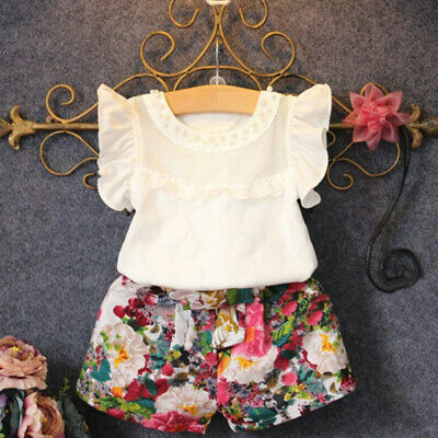 2 PC Toddler Kids Baby Girls Outfit Clothes T-shirt Tops+Floral Pants Shor HRD