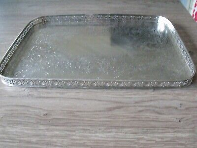 Vintage Small Silver Plate on Copper Pierced Gallery Tray