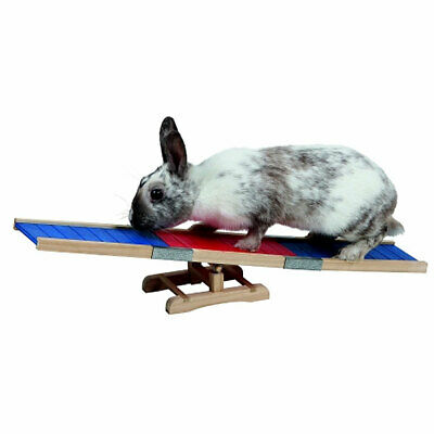Rabbit Seesaw Rocker Wooden Toy Guinea Pig Mouse Gerbil Hamster Keep Excited