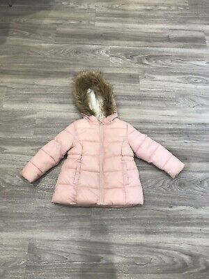 YD girls fully lined faux fur trimmed hooded pink coat Age 2-3 yrs